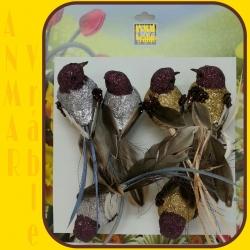 Vtáčik 6ks Hnedo zlatý - strieborný