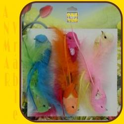 Vtáčik 6ks farebný pierko