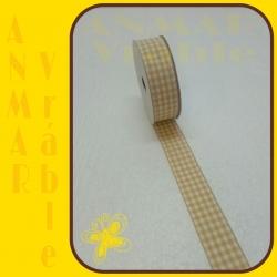 Károvaná stuha 2,5cm Béžová