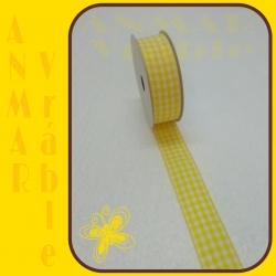 Károvaná stuha 2,5cm Žltá