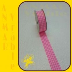 Károvaná stuha 2,5cm Ružová
