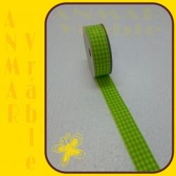 Károvaná stuha 2,5cm Zelenožltá