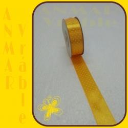 Satén stuha vzor 2,5cm Žltá