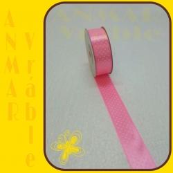 Satén stuha vzor 2,5cm Ružová