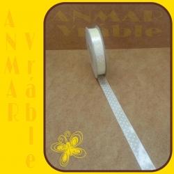 Satén stuha vzor 1,2cm Ecru