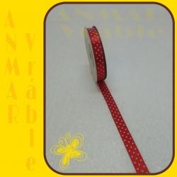 Satén stuha vzor 1,2cm Červená