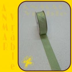 Károvaná stuha 2,5cm Zelená