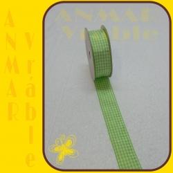 Károvaná stuha 2,5cm Zelená svetlá