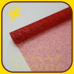 Organza Vianočná vzor 39cm Červenozlatá 5A
