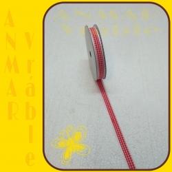Stuha s čipkou károvaná Červená