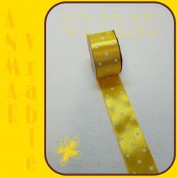 Stuha satén vzor 3,8cm Žltá 3