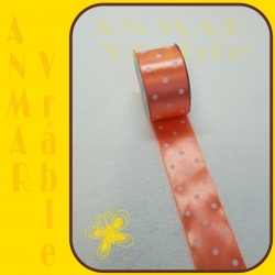 Stuha satén vzor 3,8cm Oranžová 4