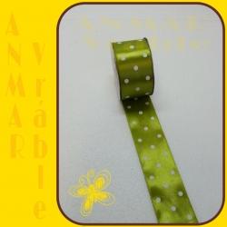 Stuha satén vzor 3,8cm Zelená 7