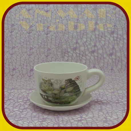 Keramický kvetináč šálka S1 - 1