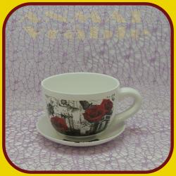 Keramický kvetináč šálka S1 - 4