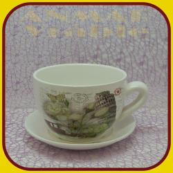 Keramický kvetináč šálka S - 1