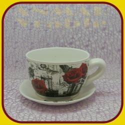 Keramický kvetináč šálka S - 4