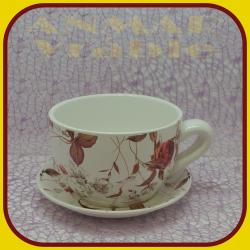 Keramický kvetináč šálka S - 6