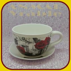 Keramický kvetináč šálka M - 4