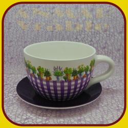 Keramický kvetináč šálka M - 5