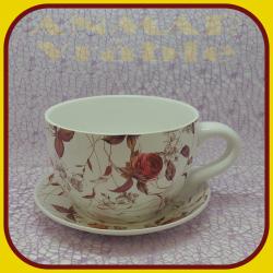 Keramický kvetináč šálka M - 6